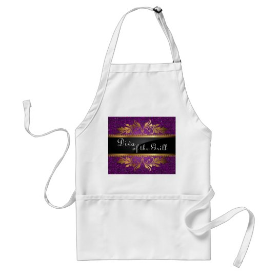 Purple Glitter Sequin Disco Glitz Pattern Apron