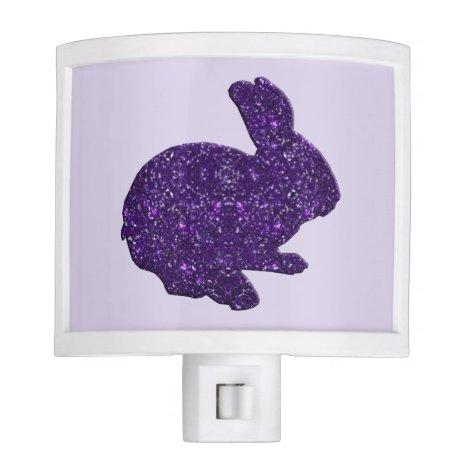 Purple Glitter Silhouette Bunny Rabbit Night Light