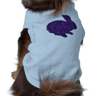 Purple Glitter Silhouette Easter Bunny Dog Shirt