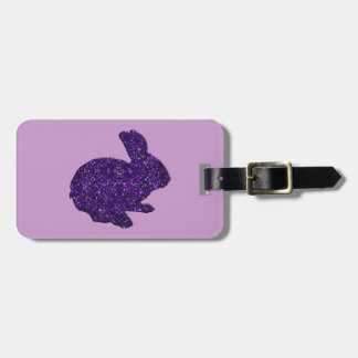 Purple Glitter Silhouette Easter Bunny Luggage Tag