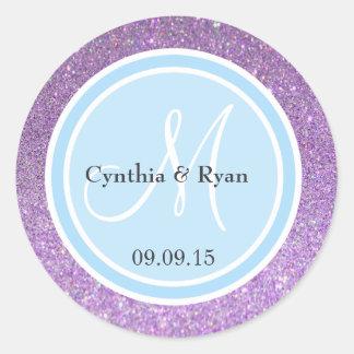 Purple Glitter & Sky Blue Wedding Monogram Label
