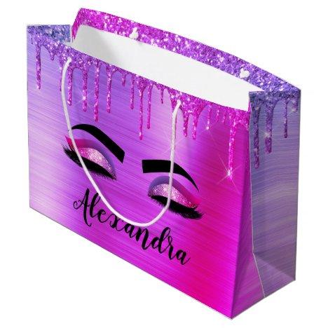 Purple Glitter Sparkle Eyelashes Monogram Name Large Gift Bag