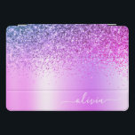 "Purple Glitter Sparkle Glam Metal Monogram Name iPad Pro Cover<br><div class=""desc"">Purple Faux Foil Metallic Sparkle Glitter Brushed Metal Monogram Name Laptop Case. This makes the perfect sweet 16 birthday,  wedding,  bridal shower,  anniversary,  baby shower or bachelorette party gift for someone that loves glam luxury and chic styles.</div>"