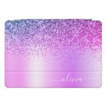 Purple Glitter Sparkle Glam Metal Monogram Name iPad Pro Cover