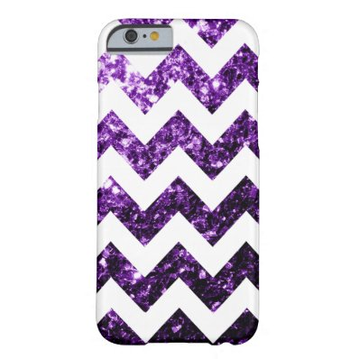Purple glitter sparkles + White Chevron iPhone 6 Barely There iPhone 6 Case