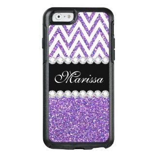 Purple Glitter Sparkles White Chevron Pattern OtterBox iPhone 6/6s Case