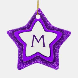 Purple glitter star customizable monogram ornament