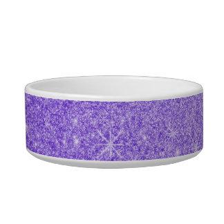 Purple glitter stars cat food bowls