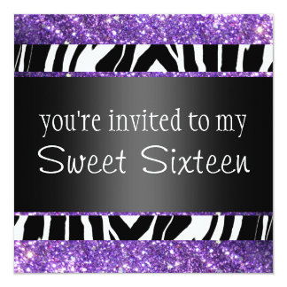 Purple Glitter Sweet Sixteen Card