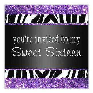 Purple Glitter Sweet Sixteen Invitation