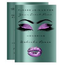 Purple Glitter Teal Bridal Shower Sweet 16th Card