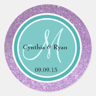 Purple Glitter & Teal Green Wedding Monogram Classic Round Sticker