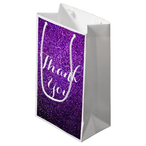 Purple Glitter Thank You Bags