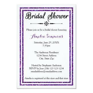 Purple Glitter Trim - 3x5 Bridal Shower Invitation