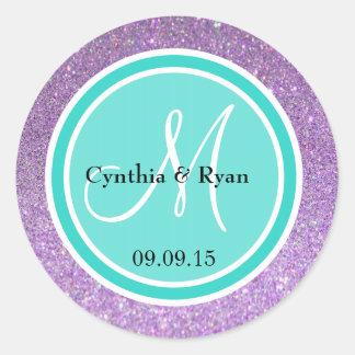 Purple Glitter & Turquoise Wedding Monogram Label Classic Round Sticker