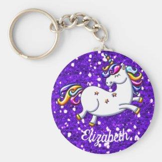Purple Glitter Unicorn Keychain