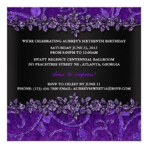 Purple Glitter Velvet Floral Sweet Sixteen Invite