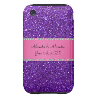 Purple glitter wedding favors iPhone 3 tough cases