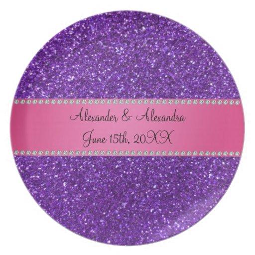 Purple glitter wedding favors dinner plates