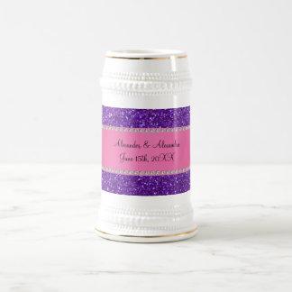 Purple glitter wedding favors 18 oz beer stein