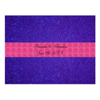 Purple glitter wedding favors post cards