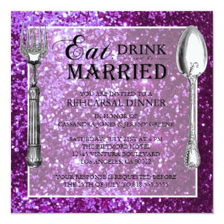 Purple Glitter Wedding Rehearsal Dinner Card