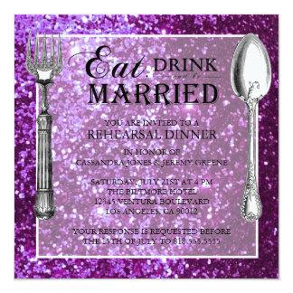 Purple Glitter Wedding Rehearsal Dinner Invitation