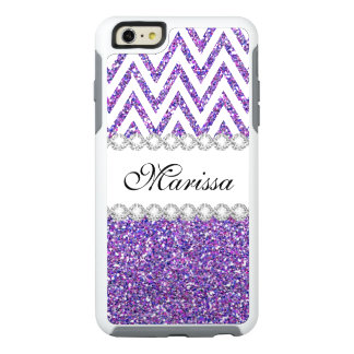 Purple Glitter White Chevron Otter iPhone 6 Case