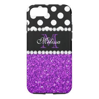 Purple Glitter White Polka Dots Monogrammed iPhone 7 Case