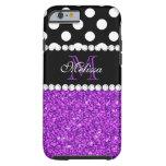 Purple Glitter White Polka Dots Monogrammed Tough iPhone 6 Case