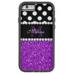 Purple Glitter White Polka Dots Monogrammed Tough Xtreme iPhone 6 Case