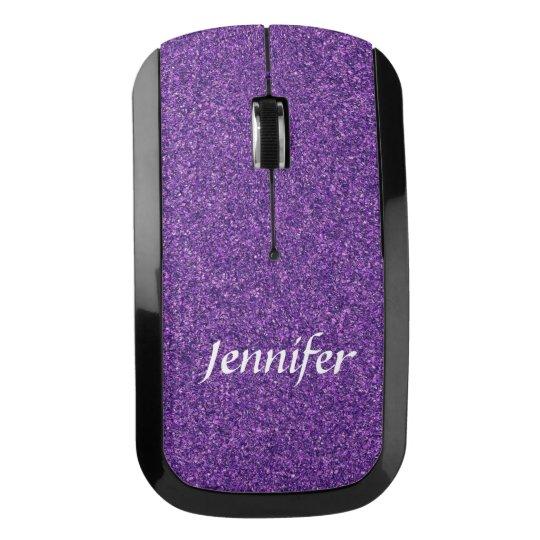 Purple Glitter Wireless Computer Mouse