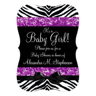 Purple Glitter Zebra Bow Baby Shower Girl 5x7 Paper Invitation Card