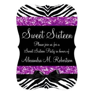 Purple Glitter Zebra Bow Sweet Sixteen Card