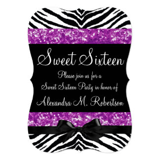 """Purple Glitter Zebra Bow Sweet Sixteen 5"""" X 7"""" Invitation Card"""