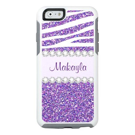 Purple Glitter Zebra Otterbox iPhone 6/6s Case