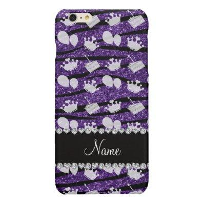 Purple glitter zebra stripes birthday cake balloon glossy iPhone 6 plus case