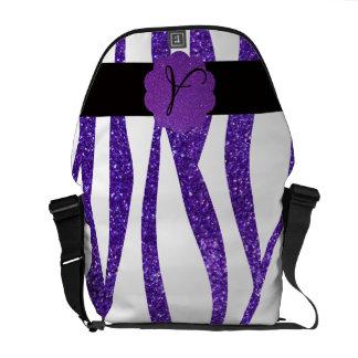 Purple glitter zebra stripes monogram courier bag