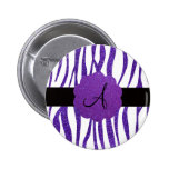 Purple glitter zebra stripes monogram pin