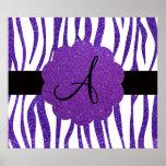 Purple glitter zebra stripes monogram posters