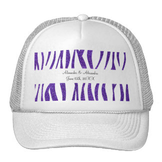 Purple glitter zebra stripes wedding favors trucker hat