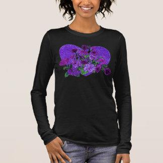 Purple Glittering Sparkle Heart w Flowers Tshirt