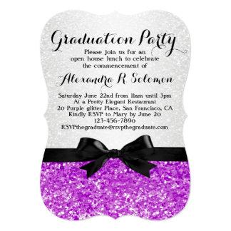 Purple Glittery Bow Graduation Party Invitation
