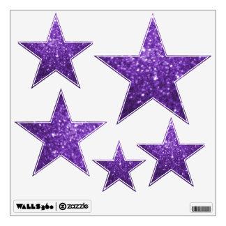 Purple Glittery Look Stars: Wall Decals