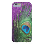 Purple Glittery Peacock Feather Still Life Barely There iPhone 6 Case