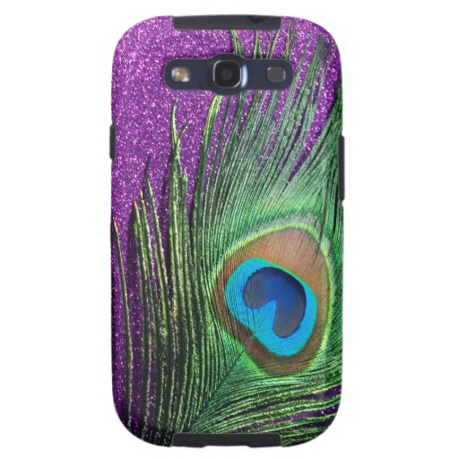 Purple Glittery Peacock Feather Still Life Galaxy S3 Case