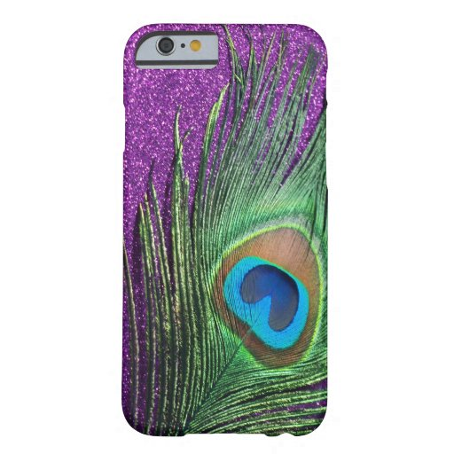 Purple Glittery Peacock Feather Still Life iPhone 6 Case