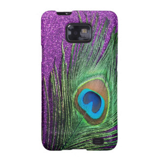 Purple Glittery Peacock Feather Still Life Galaxy SII Covers