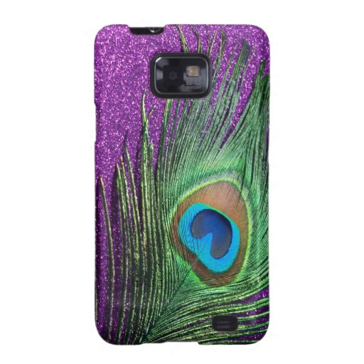Purple Glittery Peacock Feather Still Life Samsung Galaxy Covers