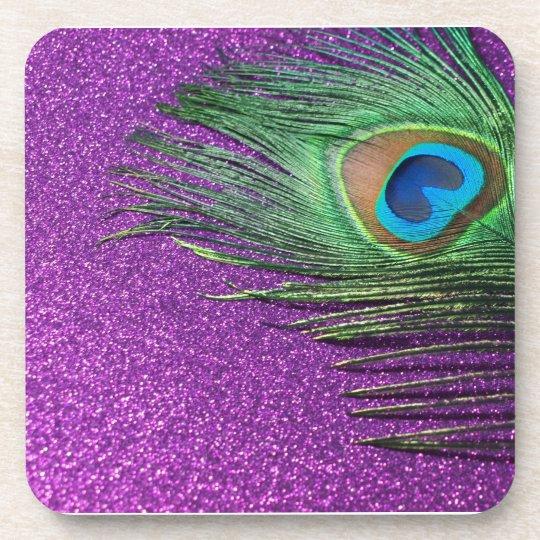Purple Glittery Peacock Feather Still Life Drink Coaster